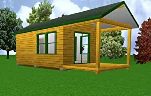 12 39 x 20 39 starter cabin w covered porch plans for Easy cabin designs