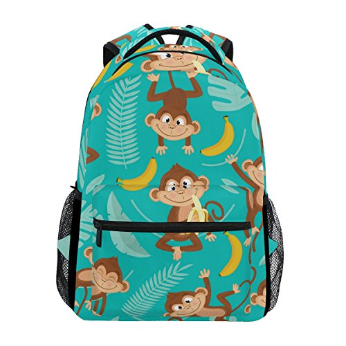 U LIFE Backpack School Bags Laptop Casual Bag for Boys Girls Kids Men Women Summer Monkey Tropical Banana Palm Trees
