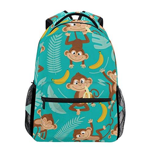 - U LIFE Backpack School Bags Laptop Casual Bag for Boys Girls Kids Men Women Summer Monkey Tropical Banana Palm Trees