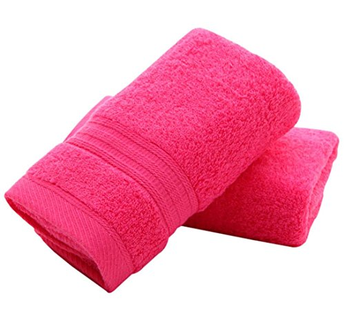 Coway 100% Cotton Bath Hand Towel for Home, Bathroom, Pool 13x24 Inch Rose Red