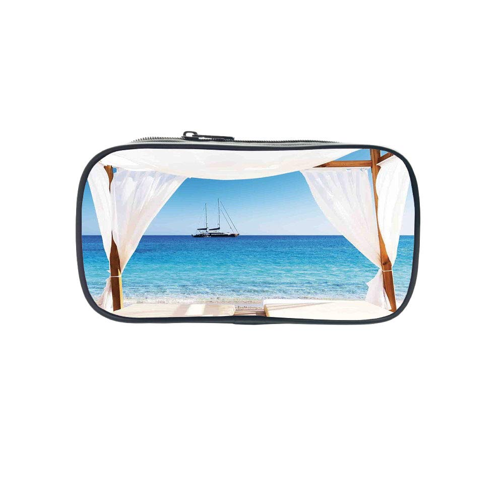 Polychromatic OptionalPen Bag,Balinese Decor,Beach Through A Balinese Bed Summer Sunshine Clear Sky Honeymoon Natural Spa Picture,Blue White,for Kids,Diversified Design
