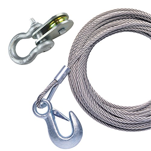 (Powerwinch P1096500AJ 25' Stainless Steel Universal Premium Replacement Cable with Galvanized Hook and Swivel Pulley Block )