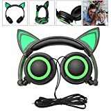 Best Led Headphones - Headphone Cat Ear Headset, Foldable LED Light Cosplay Review