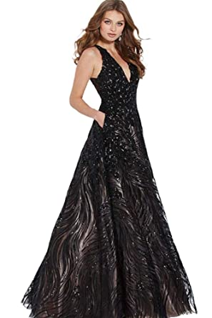 fc53b0d0efd Jovani JVN60641 Embellished Plunging A-Line Evening Gown in Black   Nude at  Amazon Women s Clothing store