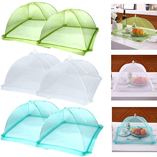 "Casolly HY 17""x17"" Pop-Up Mesh Screen Food Cover Tents - Keep Out Flies, Bugs, Mosquitos - Reusable and Collapsible(6 Pack), White"
