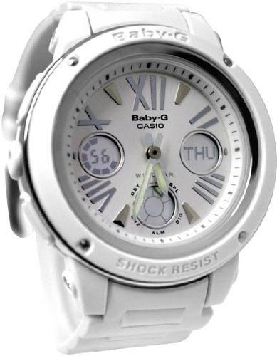 Baby-G White Plastic Resin Case and Bracelet Silver Digital-Analog Dial