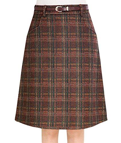 asual Wool Blend Plaid Flared Skirt Coffe Plaid X-Small (Brown Plaid Skirt)
