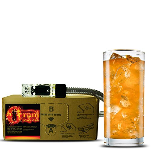 Oranj energy drink (1 Gallon Bag-in-Box Syrup Concentrate) - Box Pours 6 Gallons of Orange Flavor Energy Drink - Use with Bar Gun, Soda Fountain or SodaStream