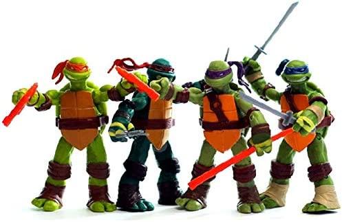 HTQING Tortugas Ninja TMNT 4-Pack Figura de acción: Amazon ...