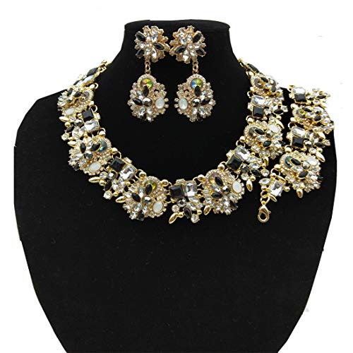 NABROJ Vintage Statement Choker Necklace Bracelet Earrings Set Costume Jewelry for Women Black and White-HLN001 Black and White 3pcs Set
