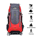 GOHYO Hiking Backpack 70L Waterproof Ultra Lightweight Daypack Travel Climbing Fishing Backpack, Internal Frame Backpack,Trekking Camping Outdoor Backpack Bag With a Rain Cover (Red)