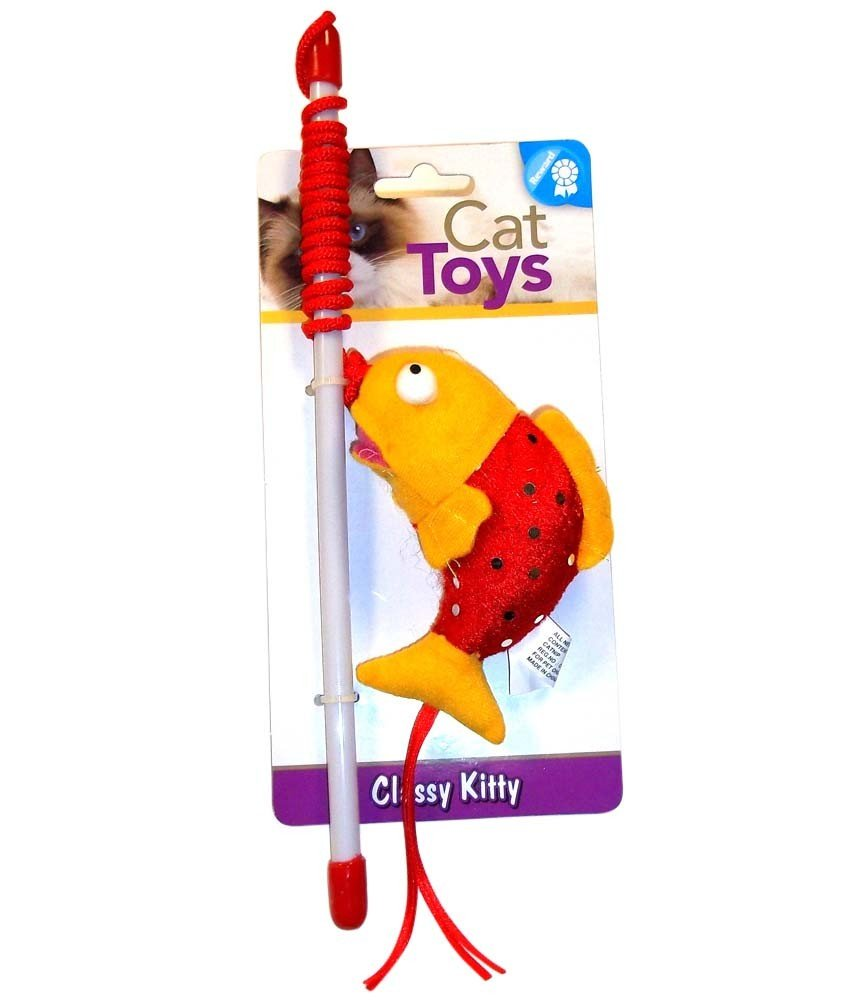 Toys For Low Prices : Low cost north american pet toy ck teaser pole fish