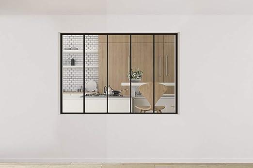 Homewell - Perfil de aluminio negro mate para cristal 1250 x 1810 mm, 5 particiones: Amazon.es: Industria, empresas y ciencia