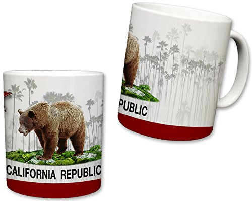 California Republic Inspired Mug | Ceramic Coffee Cup | State Flag Design | Brown Bear Logo | Faded Palm Tree Background | Great Novelty Gift | White Handle | 11 Fl. Oz ()