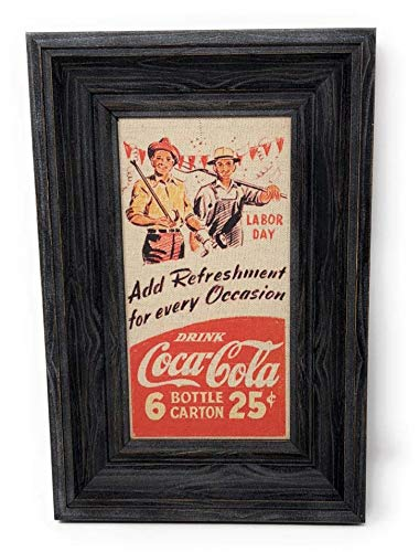 Add Refreshment For Every Occasion Drink Coca-Cola Reproduction Vintage Advertising Framed Linen Artwork Sign - 12 by 8 Inches