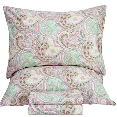 Queen's House Baroque Paisley Print Bedding Sheets Luxury Egyptian Cotton Bed Sheet Sets-King,Q ()