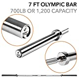 Olympic Barbell - 2', 700 Pound Capacity, 7' by D1F for Weightlifting, Bench Pressing, Bodybuilding, Powerlifting - Durable Crossfit Bar - Heavy-Duty Steel Bars and Barbells, Accommodates 2' Plates