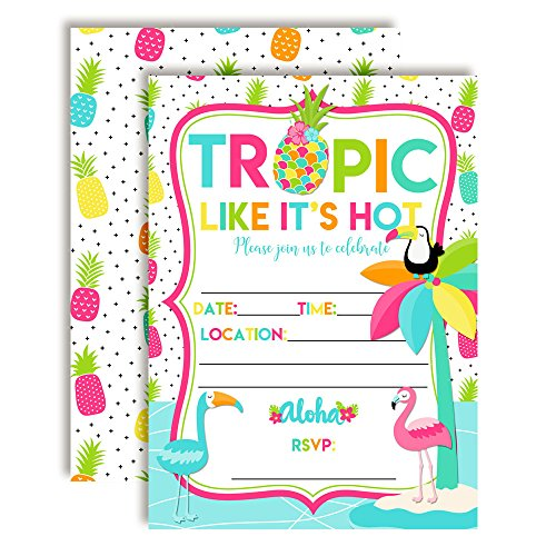 (Tropic Like It's Hot Tropical Summer Birthday Party Invitations, 20 5