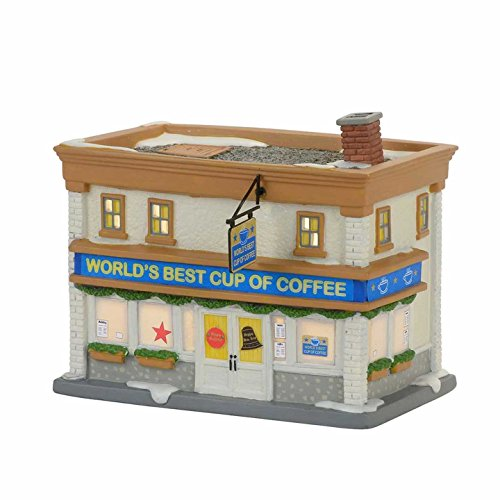 Department 56 Elf Village World's Best Cup of Coffee Shop Lit Building