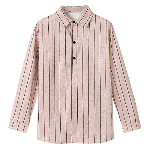 LEKODE Men Shirt Fashion Bamboo Cotton Colored Long Sleeve Lapel Striped Tee Casual Top Blouse(Khaki,XL)
