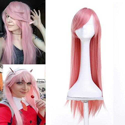 (Pink Cosplay Wigs with Bang for Women Girls Long Synthetic Straight Hair Wigs Anime Costume Party)