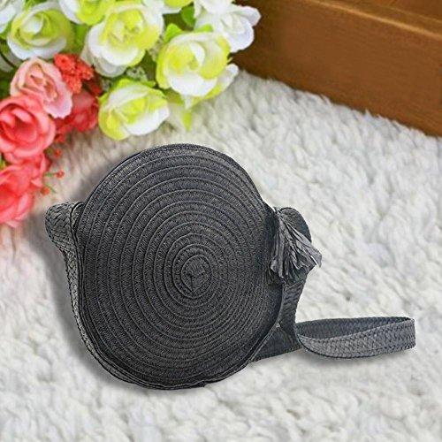 Noir Plage pour Fait Été Sac Straw de paille bandoulière durable Crossbody Bag Rond Sacs femme f6qBTZ5