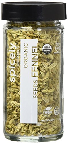 Spicely Organic Fennel Seeds Whole - Glass Jar - Gluten Free - Non GMO - Vegan - Kosher