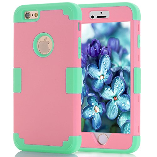 iPhone 6 Case 4.7, iPhone 6 Cases Hard Cover Shell TPU Rubber 2 Piece Ultra Slim Thin Bumper Covers Apple iPhone 6S Case Durable Protective Design Hybrid Defender Heavy Duty Shockproof (Pink Aqua)