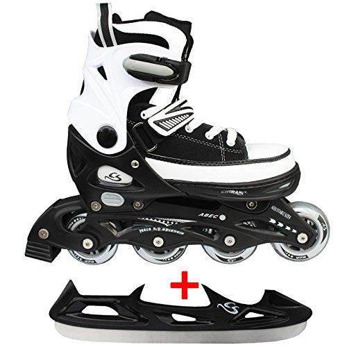 Cox Swain Sneak Kinder Inline Skates & Kinder Schlittschuh 2 in 1 - größenverstellbar ABEC5, Farbe: black, Größe: S (33-36)