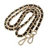 123Arts Synthetic Leather Metal Chain Genuine Replacement Interchangeable Shoulder Bag Strap Bag Accessories with Silk- 43 Inch, Gold Black