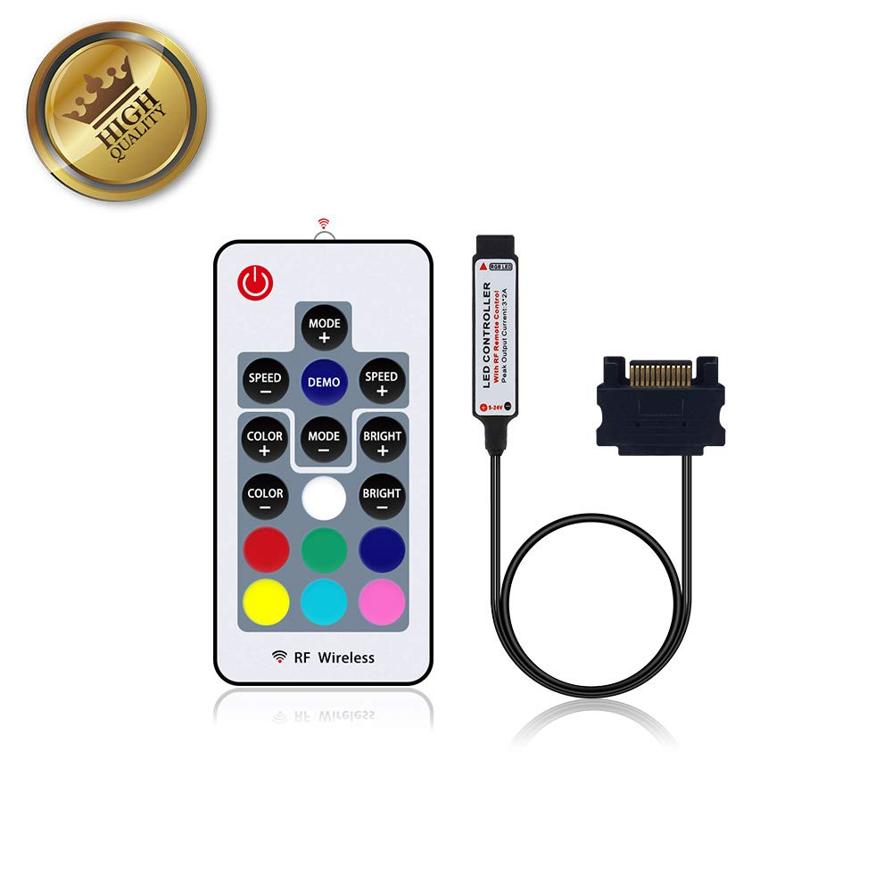 SATA Power RGB LED Strip Light for Desktop Computer Case with 17 Key RF Wireless Controller, 90 LEDs, SMD 5050 RGB, DC 12V, (Only Controller)