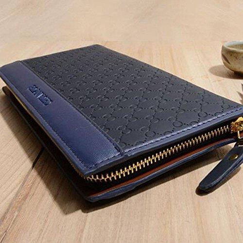 Capacidad Mano Bolso Blue Hombres Billetera De Pu Bolsa Embrague Leiu Los Para Negocios Gran wxXPfCOYq