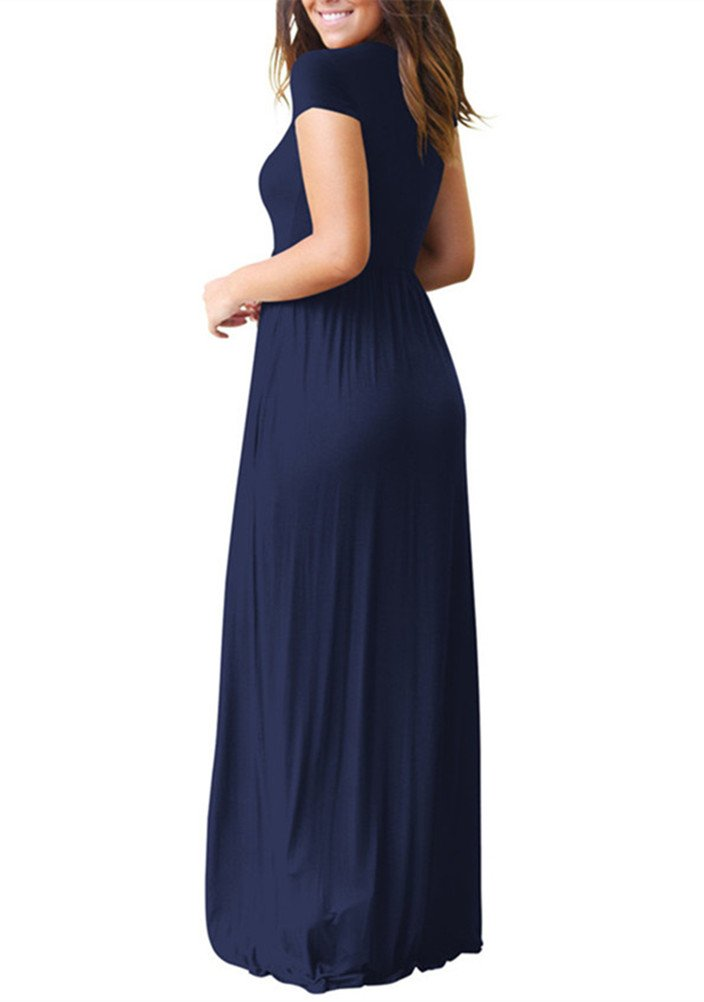 Women's Casual Plain Loose Swing Pocket Long Dress Short Sleeve Maxi Dresses (Dark Blue, L) by Santwo (Image #2)