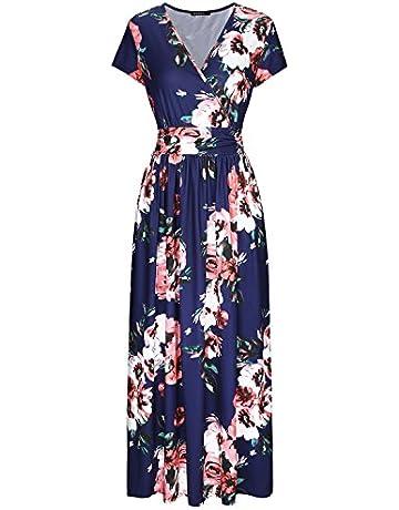 64ede99cdd26 OUGES Women's V-Neck Pattern Pocket Maxi Long Dress