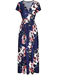 Women's V-Neck Pattern Pocket Maxi Long Dress