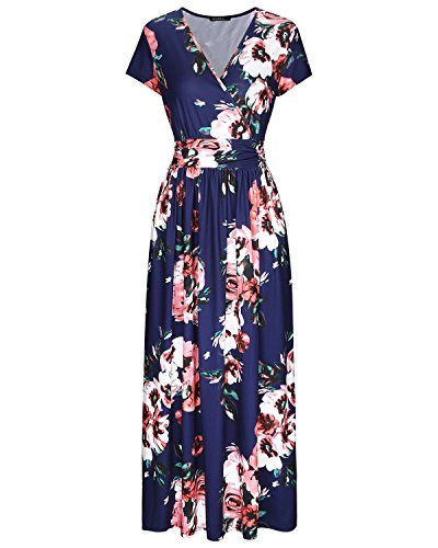 OUGES Women's V-Neck Pattern Pocket Maxi Long Dress(Floral-7,XXL)