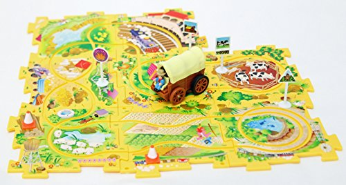 Themed Vehicles Puzzle Track Play Set - Battery Operated Toy Theme Style Vehicle Runs on Interchangeable Jigsaw Puzzle Mat Tracks - Up to 50 Track Combinations by Perfect Life Ideas (Wild Wild West)