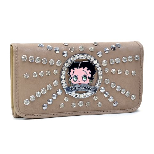 Betty Boop Rhinestone and Silver Tone Studs Starburst Accent Tri Fold Wallet