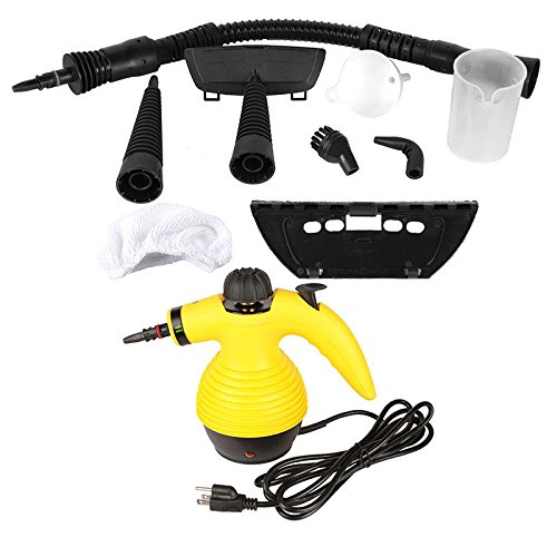 totoshop Multi Purpose Handheld Steam Cleaner 1050W Portable Steamer W/Attachments New Yellow