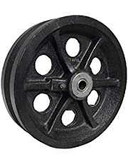 RWM Casters VIR-0820-08 8-Inch Diameter X 2-Inch Width Cast Iron V-Groove Wheel with Straight Roller Bearing, 1050-Pounds Capacity