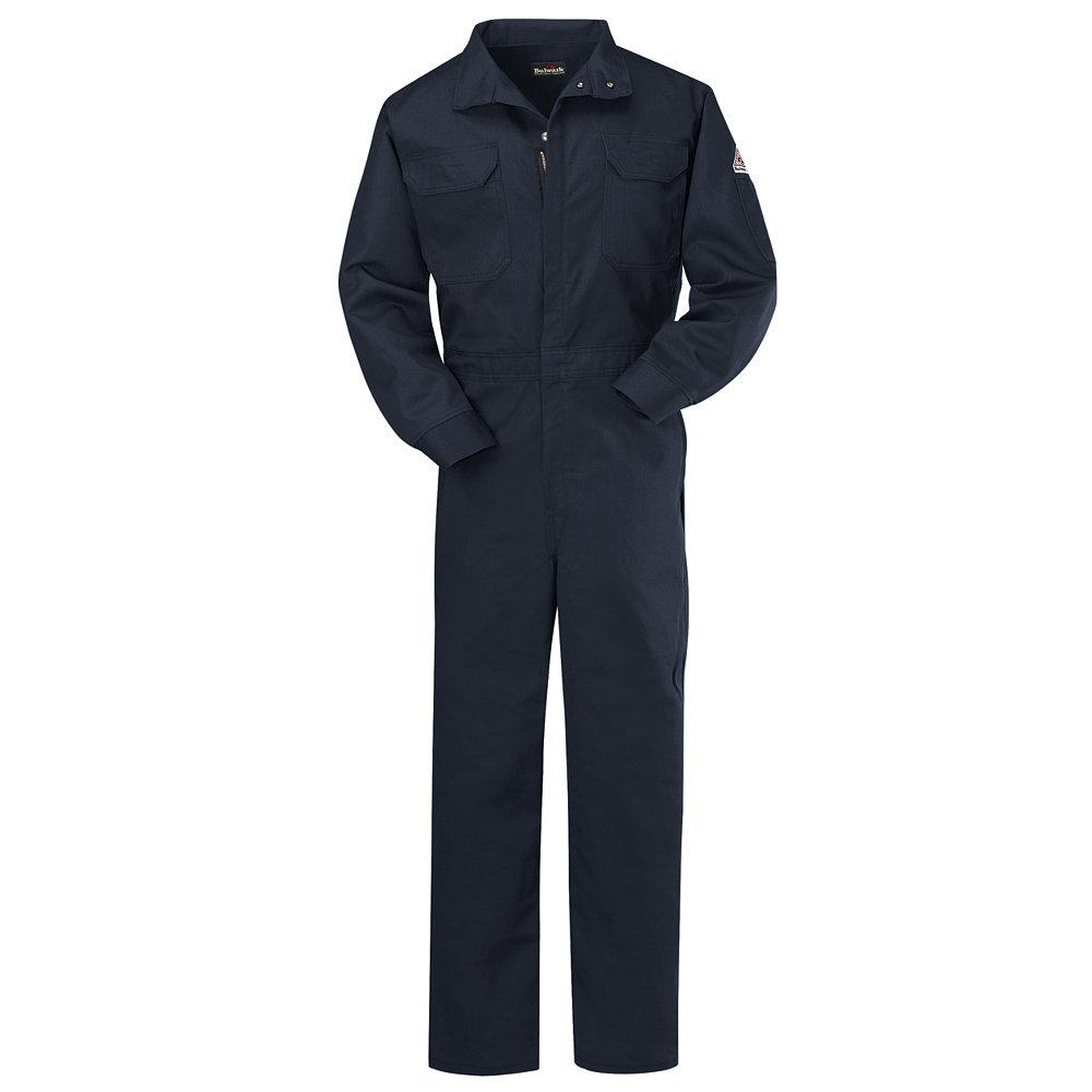 Bulwark Flame Resistant 9 oz Cotton/Nylon Excel FR ComforTouch Regular Premium Coverall with Concealed Snap Closure On Sleeve Cuff, Navy, Size 48