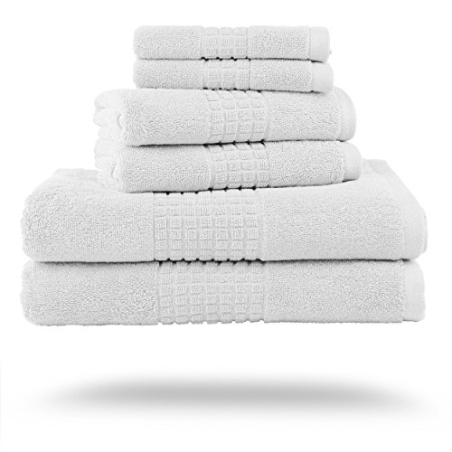 Luxor Linens New Arrival Valentino Hotel Collection 100% Egyptian Cotton 750 GSM Luxury Solid Towel Sets - Soft, Durable, Plush, Absorbent & Quick Drying (White, 6-Piece Towel Set)