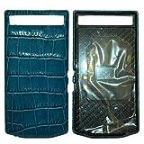 Porsche Design Leather Battery Door Cover Crocodile Hydro Blue for Blackberry Porsche Design P'9982