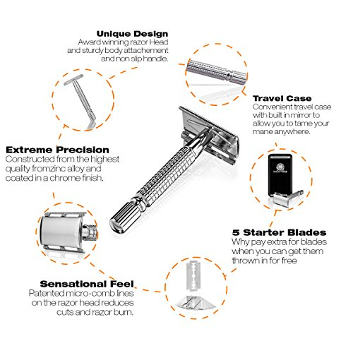 Smoothere Double Edge Safety Razor Kit for Men + 5 Premium Blades, Travel Case & Mirror. Expertly Weighted For The Best Possible Shave