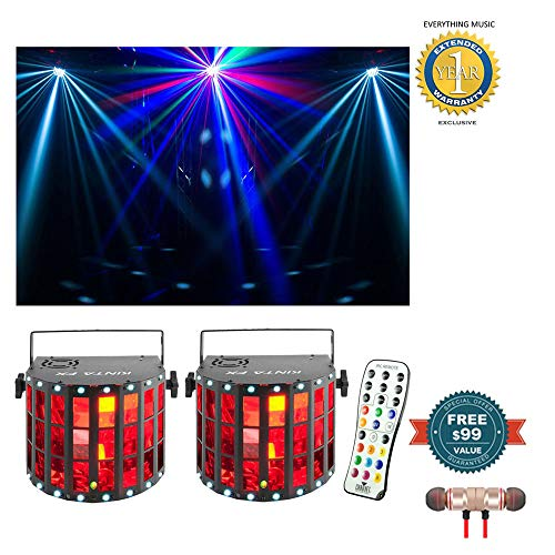 (Chauvet DJ Kinta FX RGBW LED Derby/Strobe Multi-Effect Fixture 2-Pack with IRC Remote Bundle includes Free Wireless Earbuds - Stereo Bluetooth In-ear and 1 Year Everything Music Extended Warranty)
