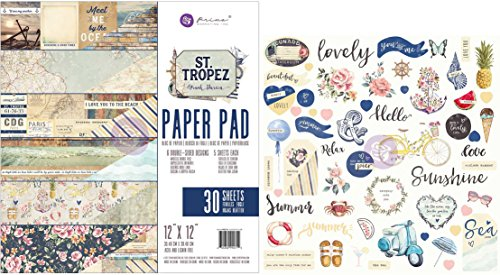 Prima St Tropez 12x12 Inch Paper Pad and Ephemera Die-Cuts Bundle (Set of 2 Items) (Flip Flops Die Cut)