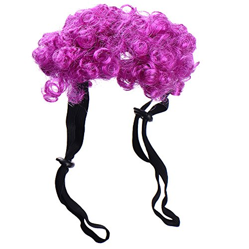 Cute Pet Curly Wig for Halloween Festival Dress Up Costume Cosplay Hair for Pets Dog Cat Kitten Pup Puppy Hound 4 color (Purple) (Quick Cute Halloween Costume)