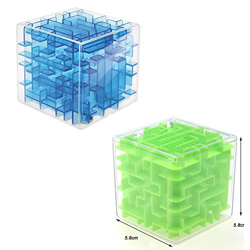 2pcs Mini 3D Magic Cube Puzzle Box Speed Sequential Maze Puzzles Game Labyrinth Rolling Ball Toys Cubos Magicos Learning Educational Fidget Toys Professional Puzzle Game Gifts-Green+Transparent Blue