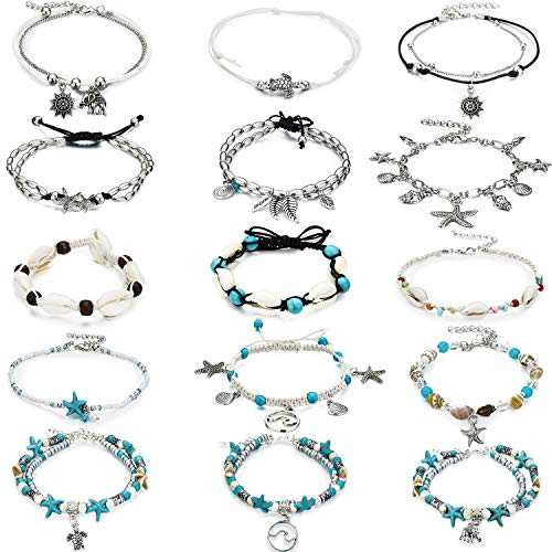 - 15 Pieces Ankle Chains Bracelets Adjustable Beach Anklet Foot Jewelry Set Anklets for Women Girls Barefoot (Multicolor 3)