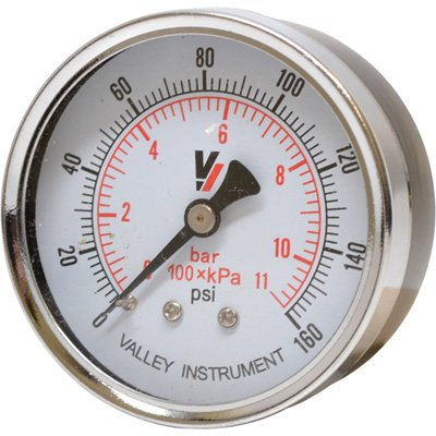 Valley Instrument Grade B Back Mount 2.5in. Dry Gauge - 0-160 PSI by Valley Instrument
